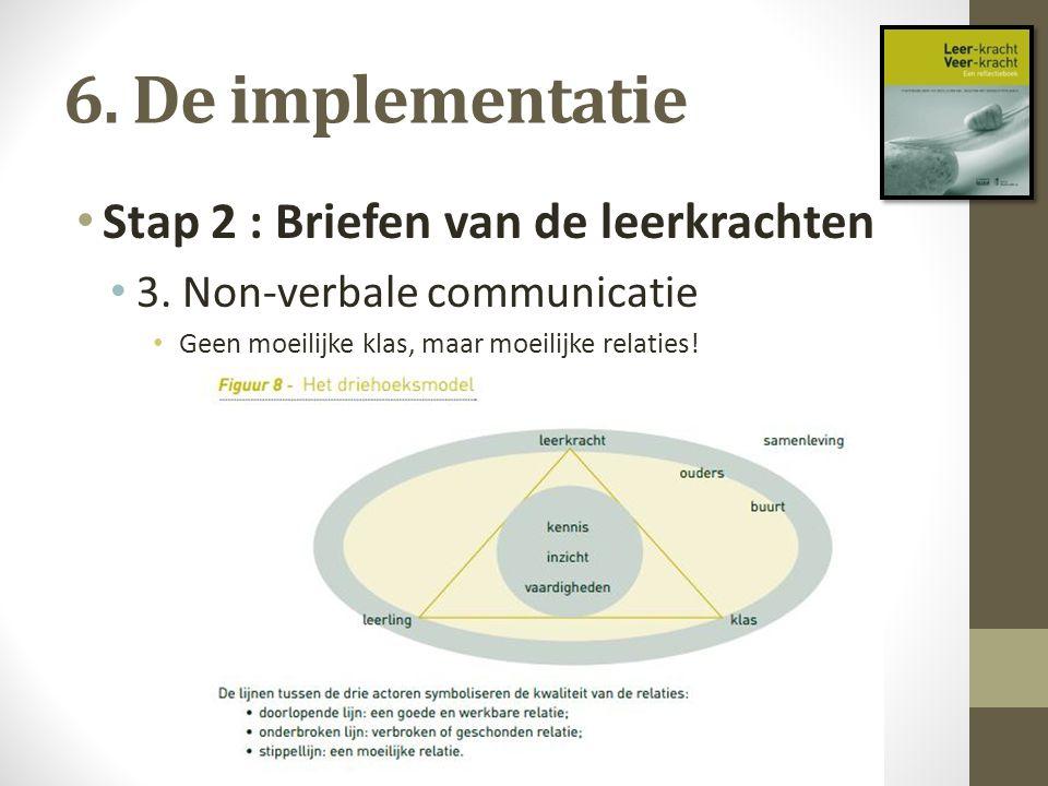 6. De implementatie Stap 2 : Briefen van de leerkrachten