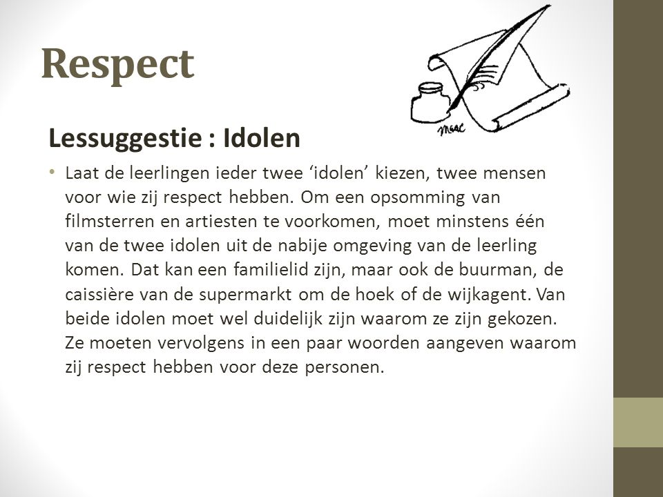 Respect Lessuggestie : Idolen