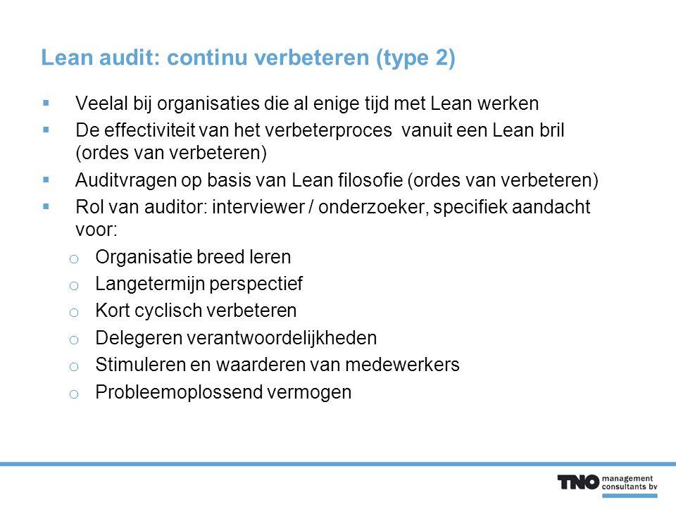 Lean audit: continu verbeteren (type 2)