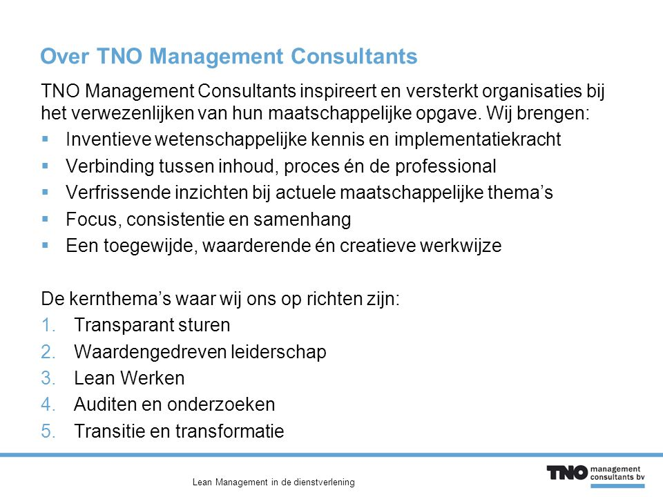 Over TNO Management Consultants