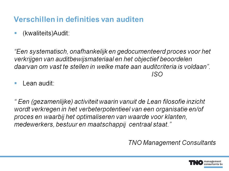 Verschillen in definities van auditen