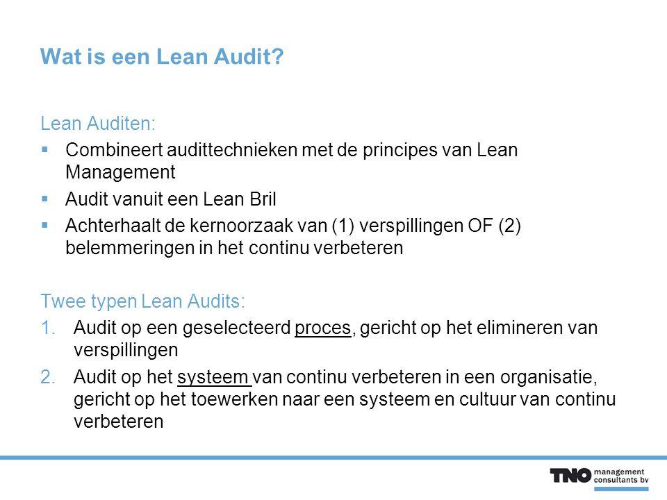Wat is een Lean Audit Lean Auditen: