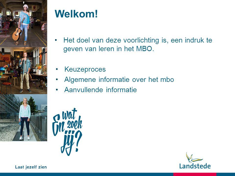 Welkom! Het doel van deze voorlichting is, een indruk te geven van leren in het MBO. Keuzeproces.