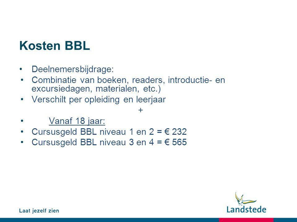Kosten BBL Deelnemersbijdrage: