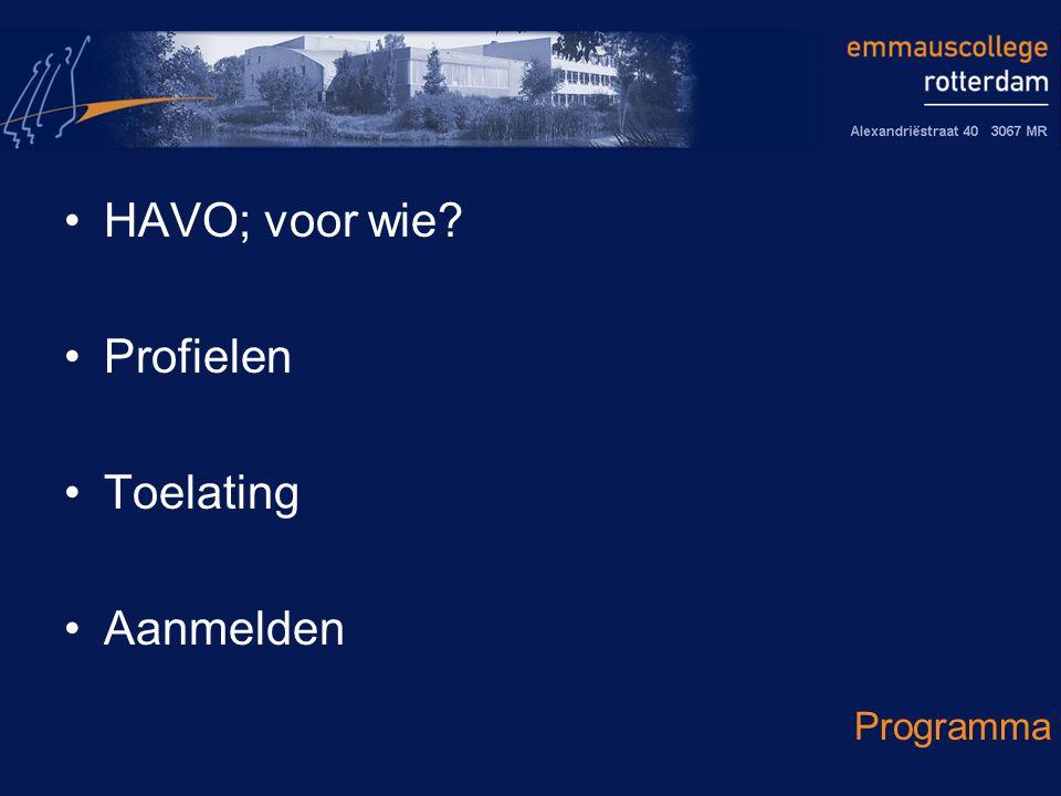 HAVO; voor wie Profielen Toelating Aanmelden Programma