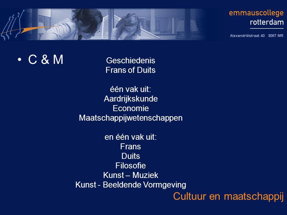C & M Cultuur en maatschappij Geschiedenis Frans of Duits één vak uit: