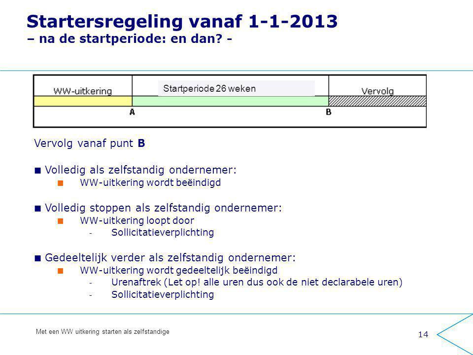 Startersregeling vanaf 1-1-2013 – na de startperiode: en dan -