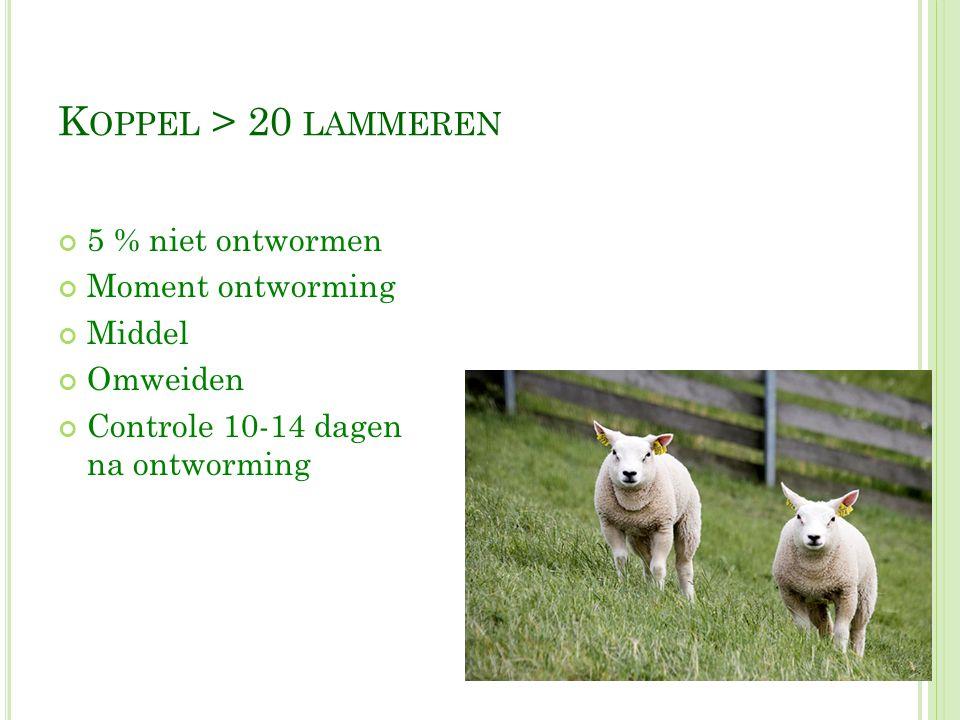 Koppel > 20 lammeren 5 % niet ontwormen Moment ontworming Middel
