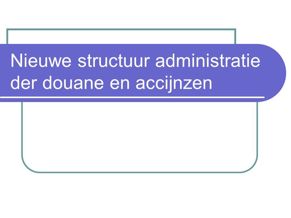 Nieuwe structuur administratie der douane en accijnzen