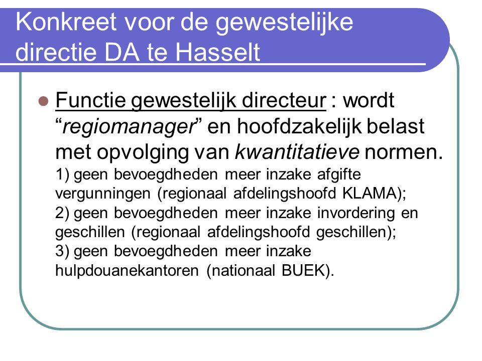 Konkreet voor de gewestelijke directie DA te Hasselt