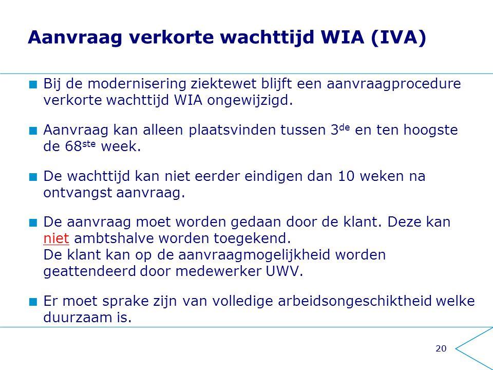 Aanvraag verkorte wachttijd WIA (IVA)
