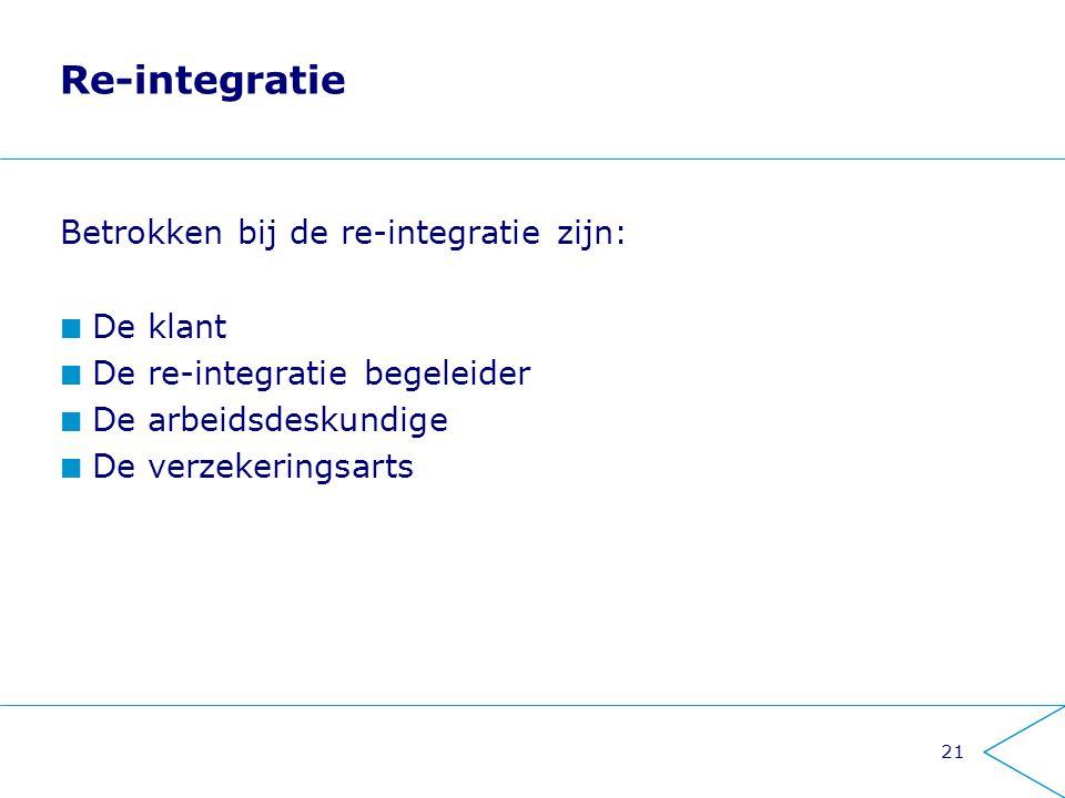 Re-integratie Betrokken bij de re-integratie zijn: De klant