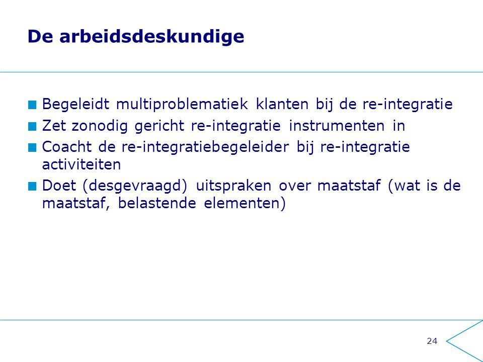 De arbeidsdeskundige Begeleidt multiproblematiek klanten bij de re-integratie. Zet zonodig gericht re-integratie instrumenten in.