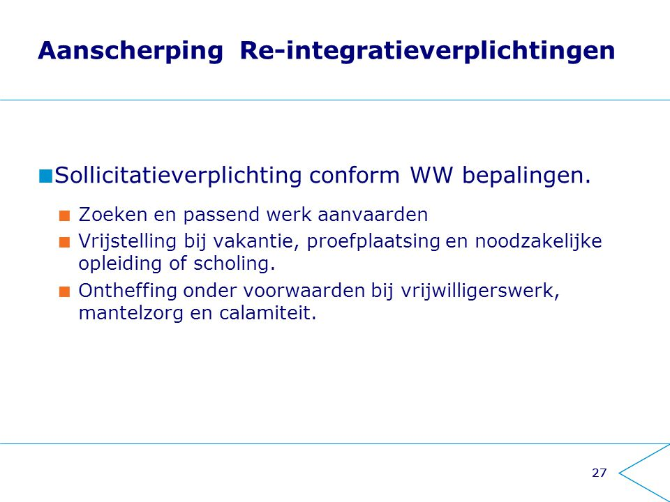 Aanscherping Re-integratieverplichtingen