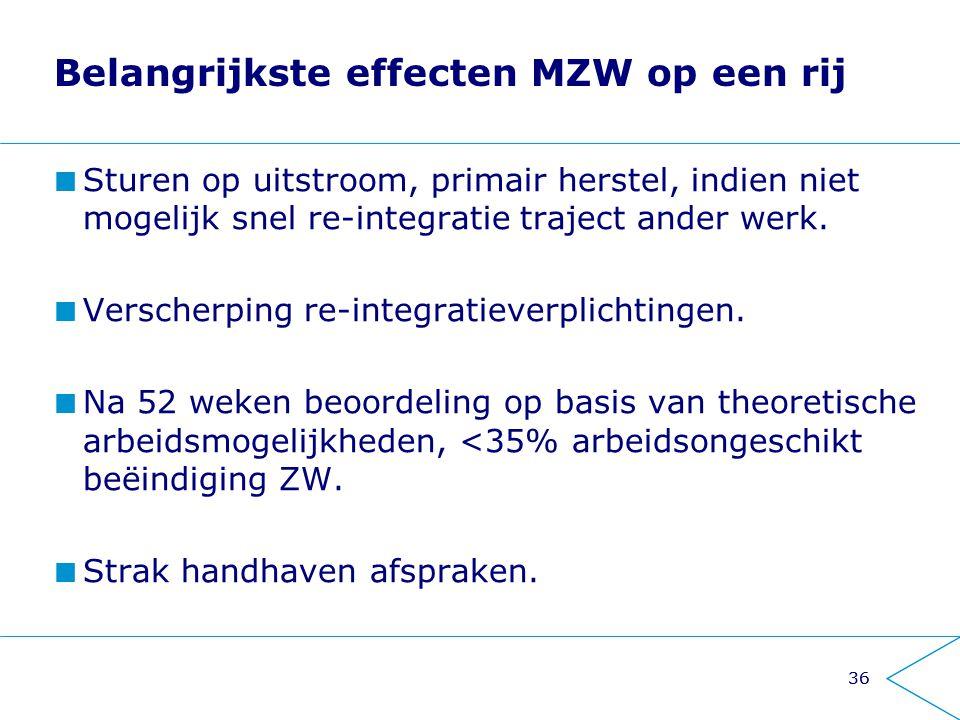 Belangrijkste effecten MZW op een rij
