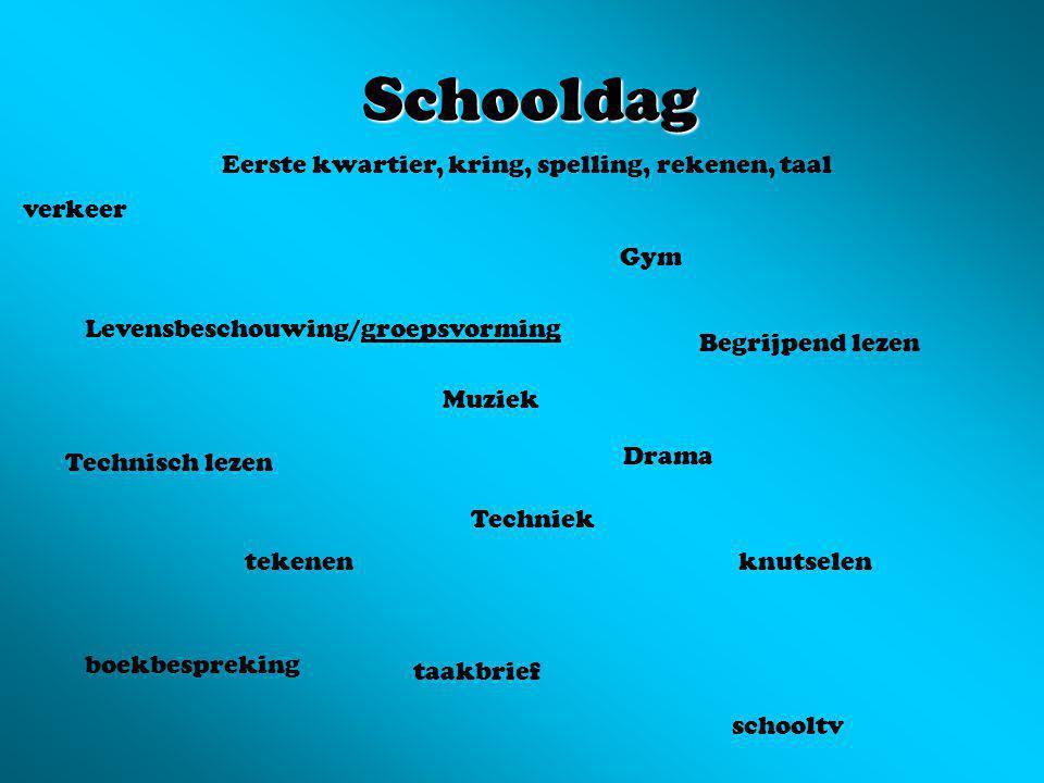 Schooldag Eerste kwartier, kring, spelling, rekenen, taal verkeer Gym