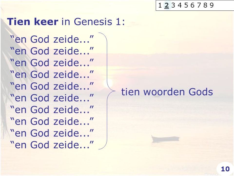 1 2 3 4 5 6 7 8 9 Tien keer in Genesis 1: