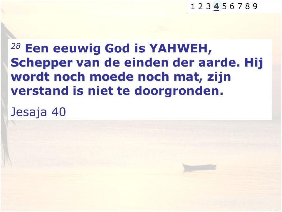 1 2 3 4 5 6 7 8 9 28 Een eeuwig God is YAHWEH, Schepper van de einden der aarde. Hij wordt noch moede noch mat, zijn verstand is niet te doorgronden.