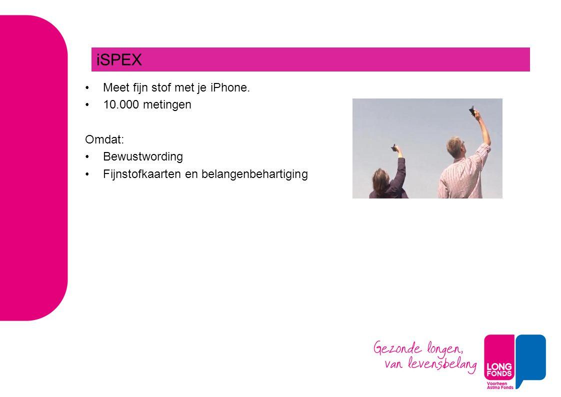 iSPEX Meet fijn stof met je iPhone. 10.000 metingen Omdat:
