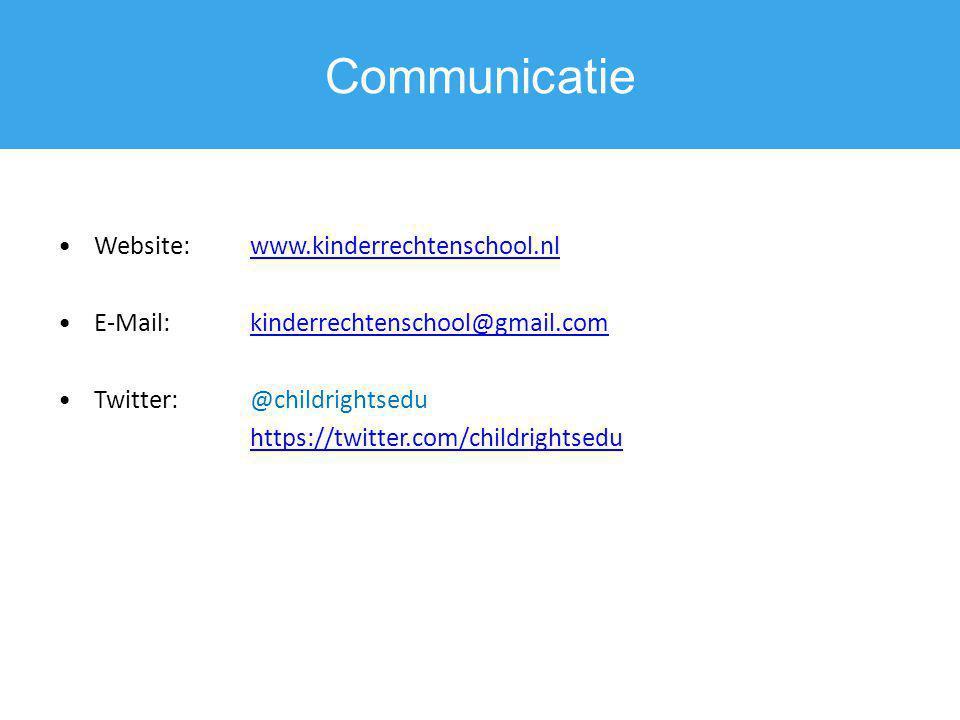 Communicatie Website: www.kinderrechtenschool.nl