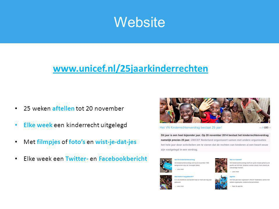 Website www.unicef.nl/25jaarkinderrechten
