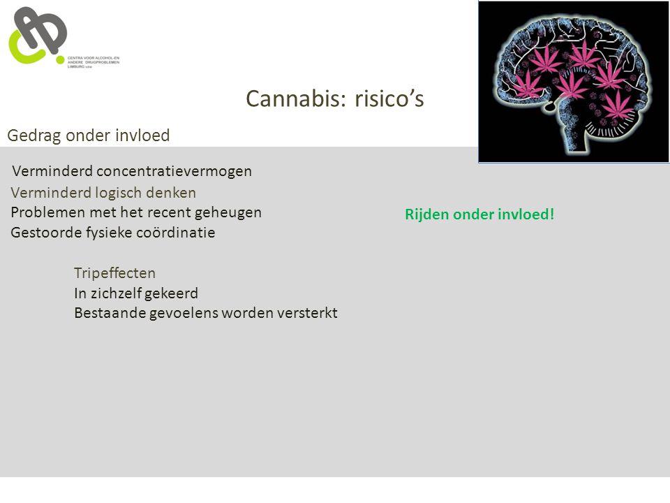 Cannabis: risico's Gedrag onder invloed Verminderd logisch denken