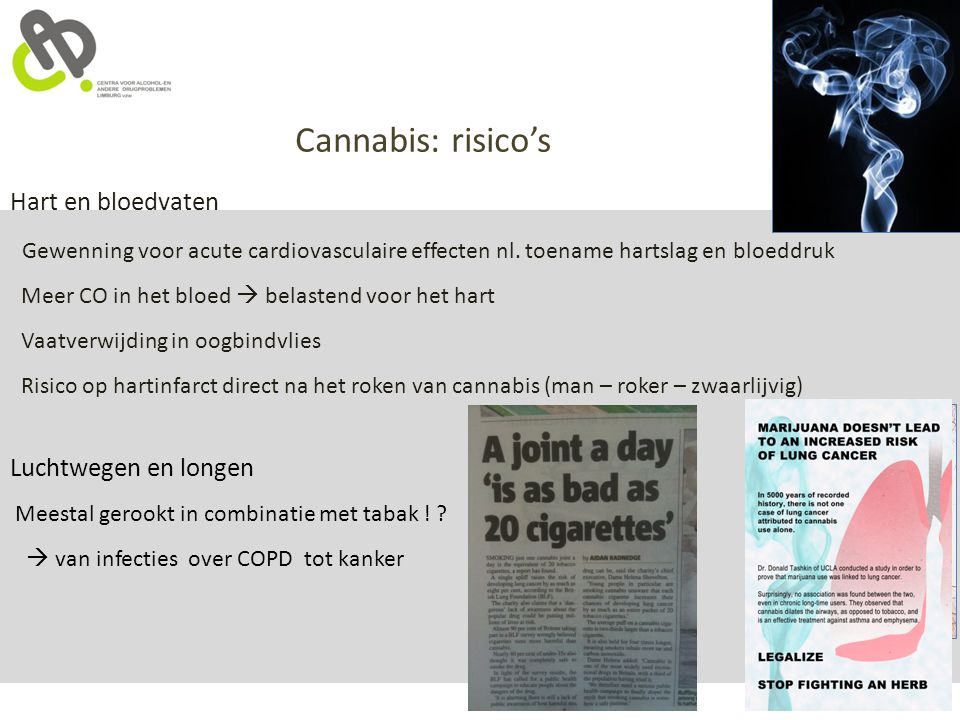 Cannabis: risico's Hart en bloedvaten