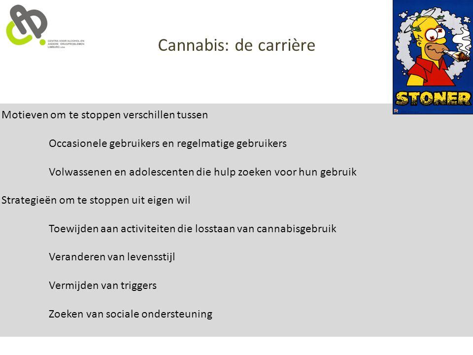 Cannabis: de carrière Motieven om te stoppen verschillen tussen
