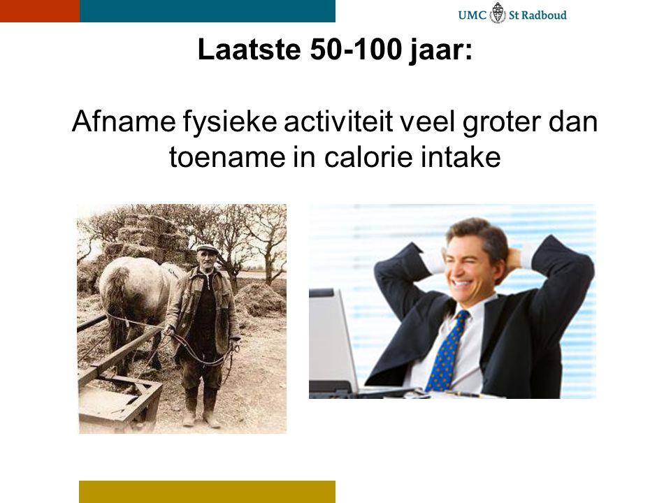 Laatste 50-100 jaar: Afname fysieke activiteit veel groter dan toename in calorie intake