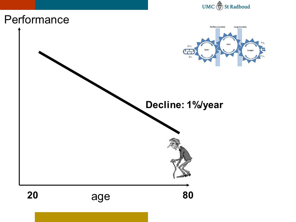 Performance Decline: 1%/year 20 age 80