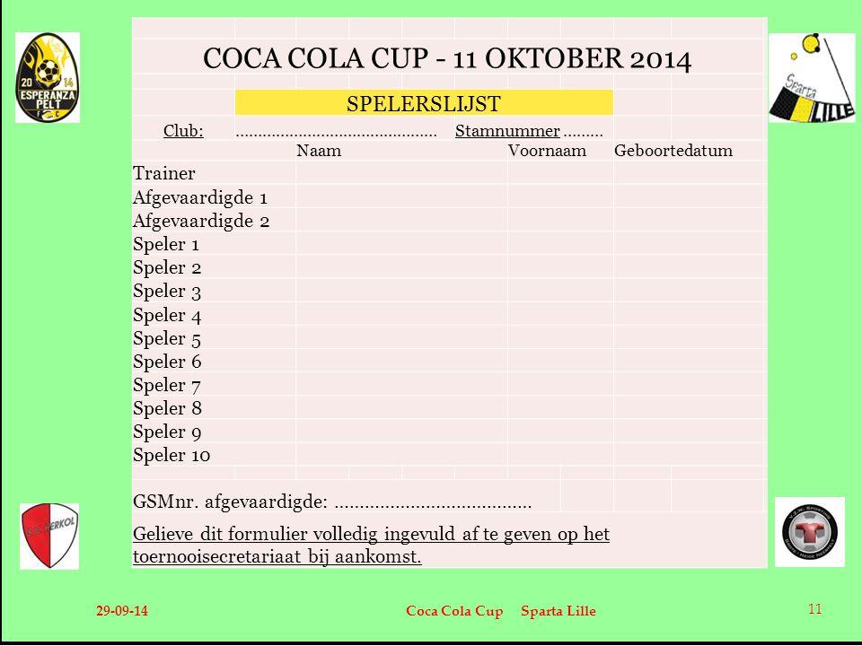COCA COLA CUP - 11 OKTOBER 2014 SPELERSLIJST Trainer Afgevaardigde 1