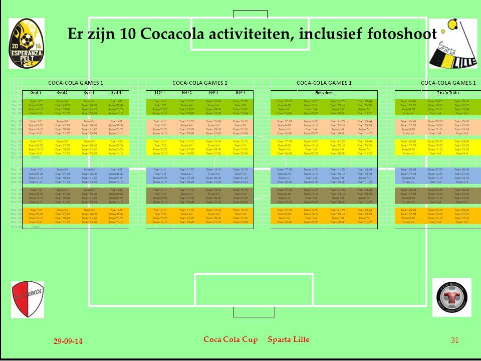 Er zijn 10 Cocacola activiteiten, inclusief fotoshoot