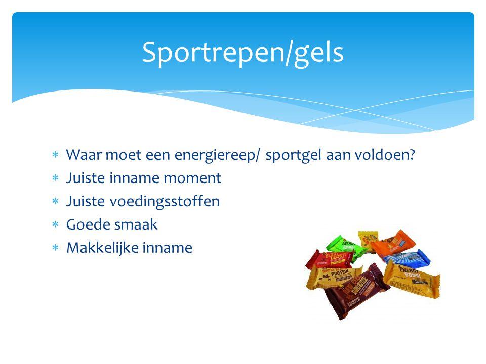 Sportrepen/gels Waar moet een energiereep/ sportgel aan voldoen
