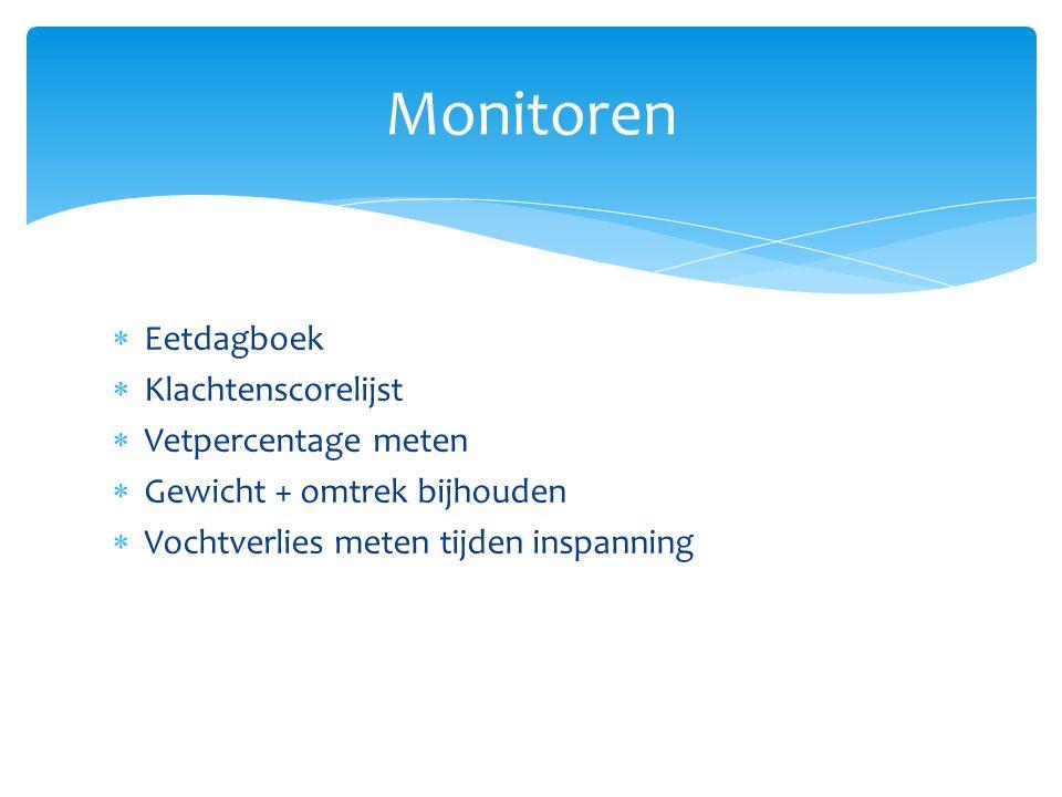 Monitoren Eetdagboek Klachtenscorelijst Vetpercentage meten