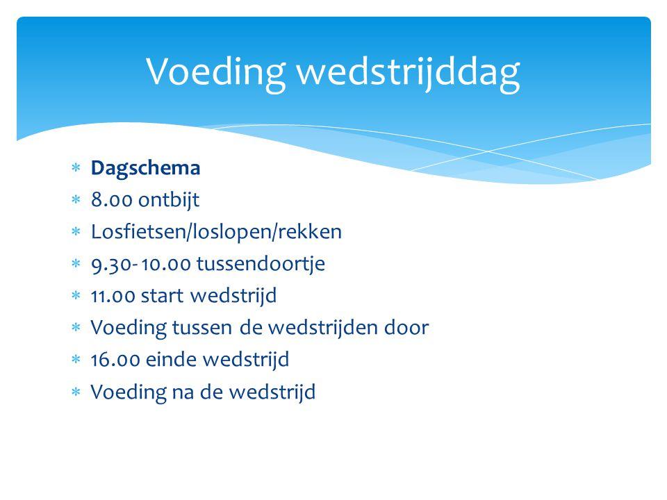 Voeding wedstrijddag Dagschema 8.00 ontbijt Losfietsen/loslopen/rekken