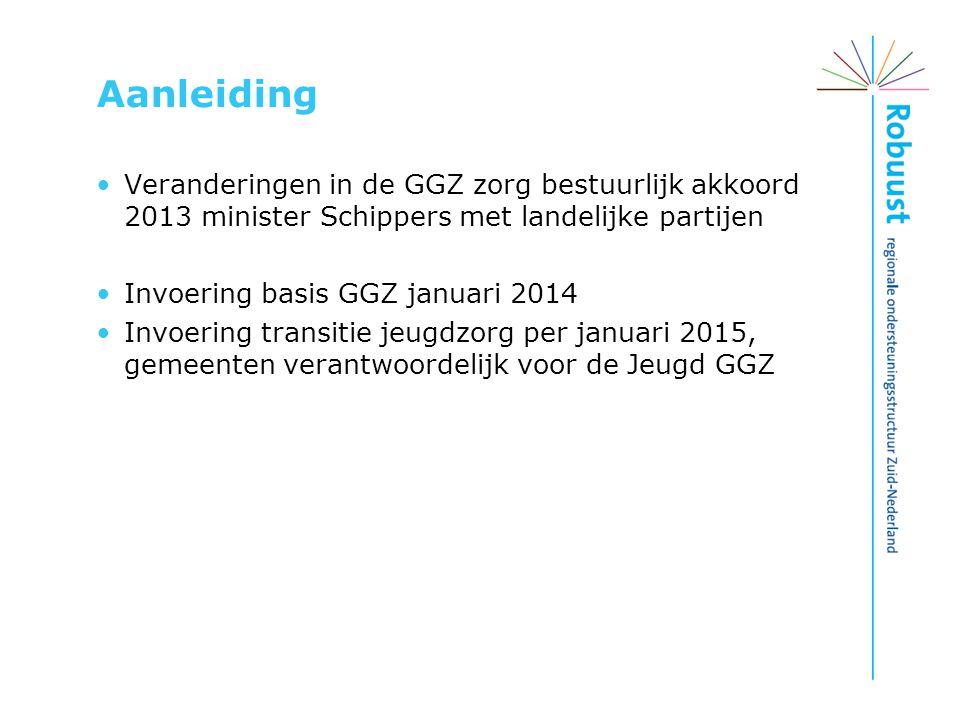 Aanleiding Veranderingen in de GGZ zorg bestuurlijk akkoord 2013 minister Schippers met landelijke partijen.