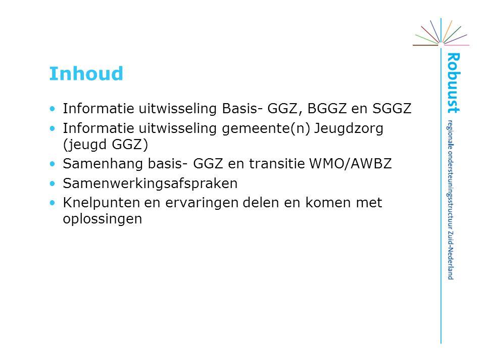 Inhoud Informatie uitwisseling Basis- GGZ, BGGZ en SGGZ