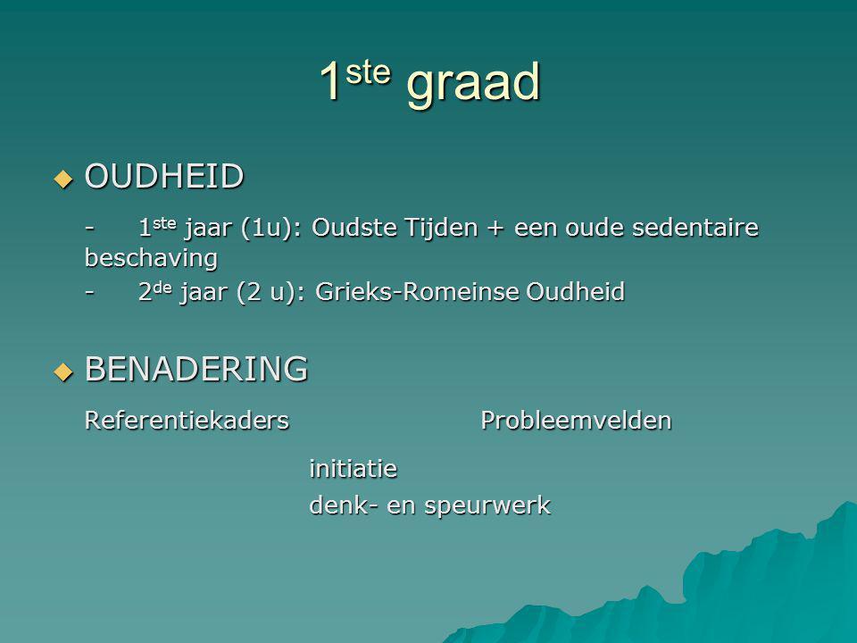 1ste graad OUDHEID. - 1ste jaar (1u): Oudste Tijden + een oude sedentaire beschaving. - 2de jaar (2 u): Grieks-Romeinse Oudheid.