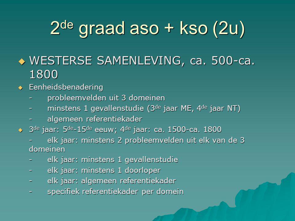 2de graad aso + kso (2u) WESTERSE SAMENLEVING, ca. 500-ca. 1800