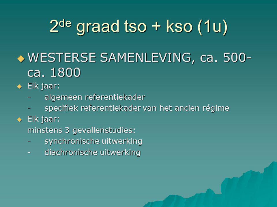 2de graad tso + kso (1u) WESTERSE SAMENLEVING, ca. 500-ca. 1800