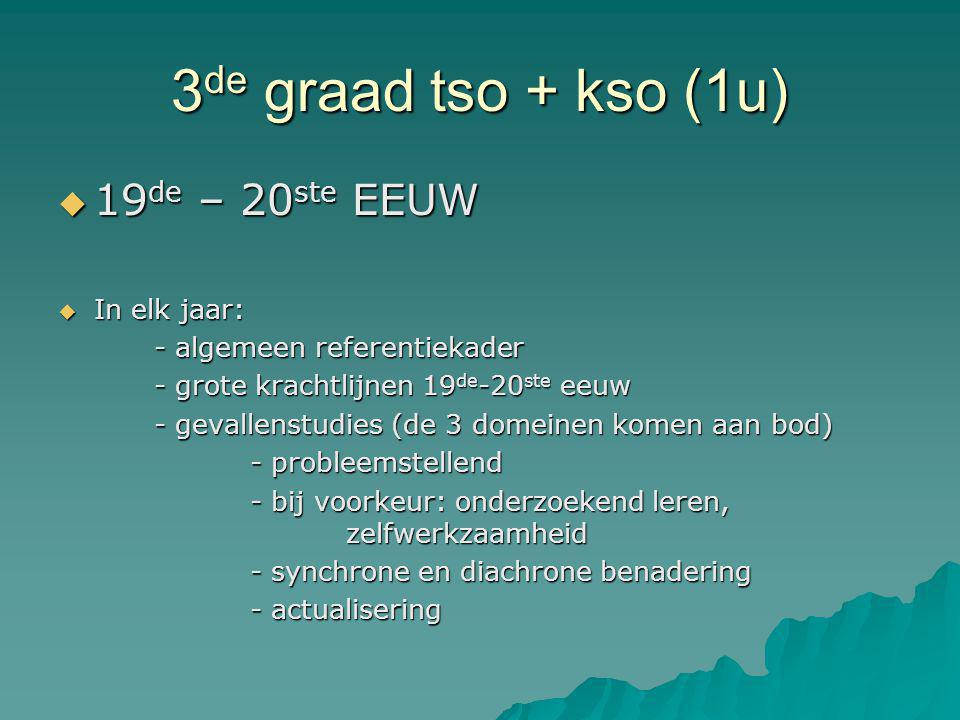 3de graad tso + kso (1u) 19de – 20ste EEUW In elk jaar: