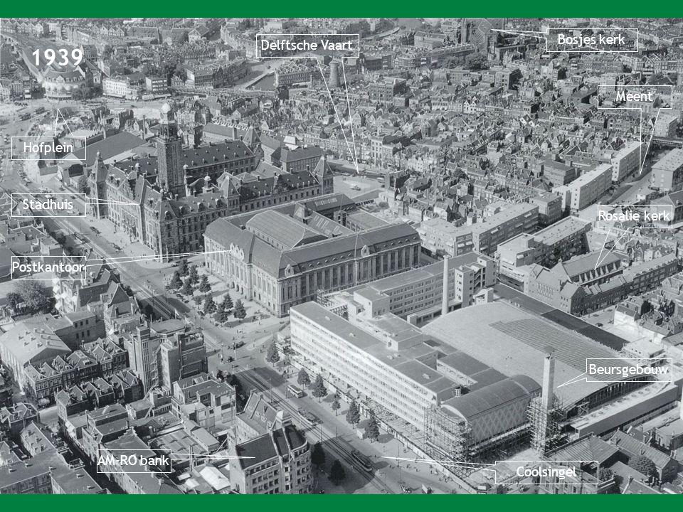 1939 Bosjes kerk Delftsche Vaart Meent Hofplein Stadhuis Rosalie kerk
