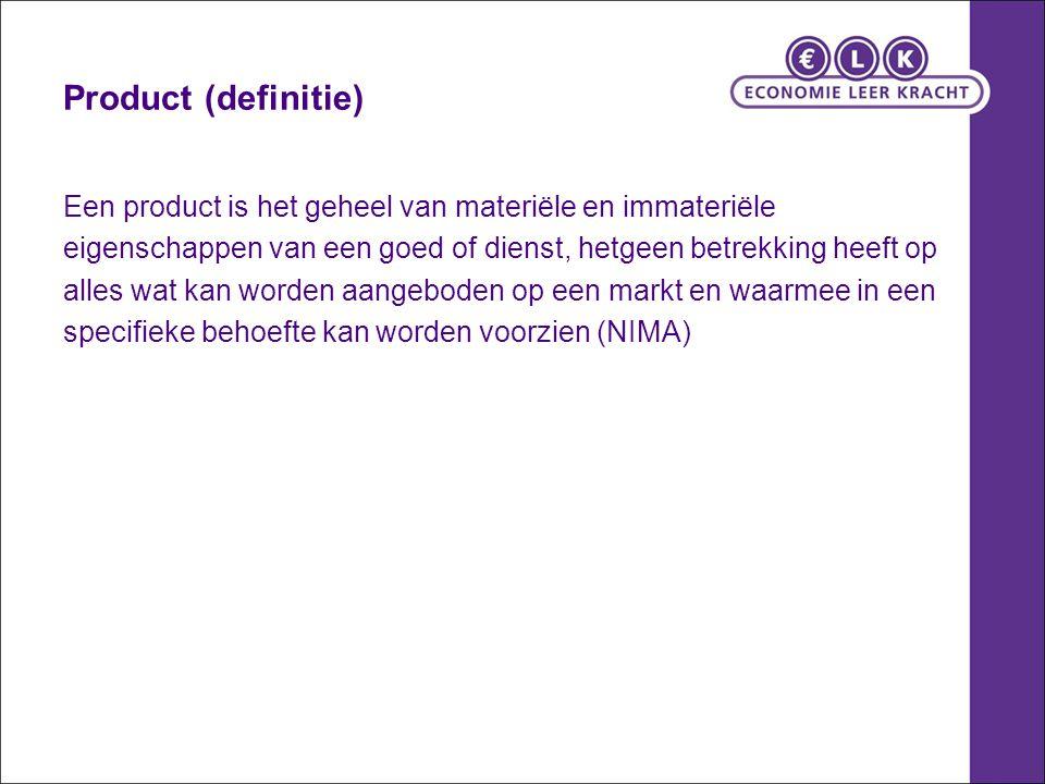 Product (definitie) Een product is het geheel van materiële en immateriële. eigenschappen van een goed of dienst, hetgeen betrekking heeft op.