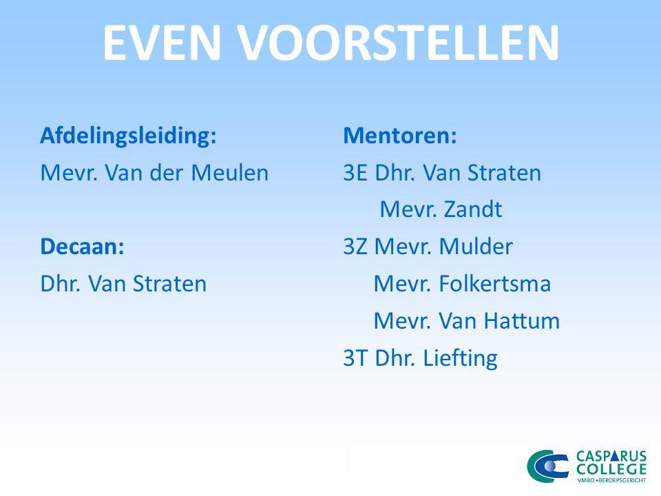 EVEN VOORSTELLEN Afdelingsleiding: Mevr. Van der Meulen Decaan: