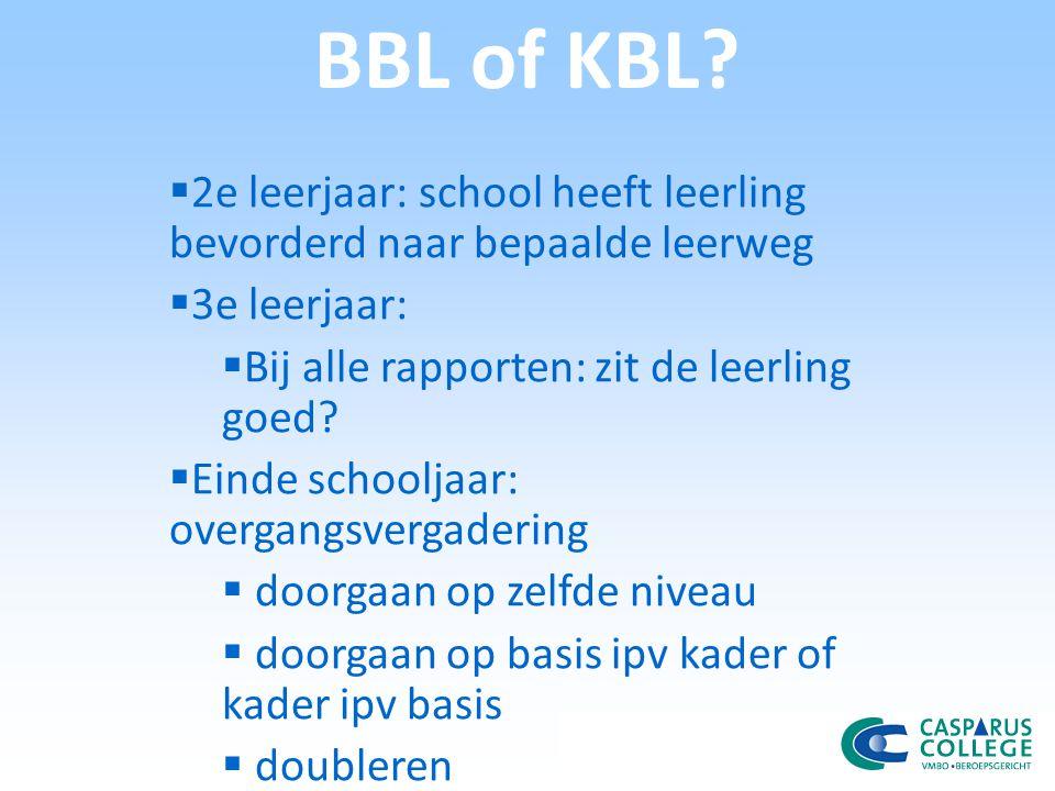 BBL of KBL 2e leerjaar: school heeft leerling bevorderd naar bepaalde leerweg. 3e leerjaar: Bij alle rapporten: zit de leerling goed