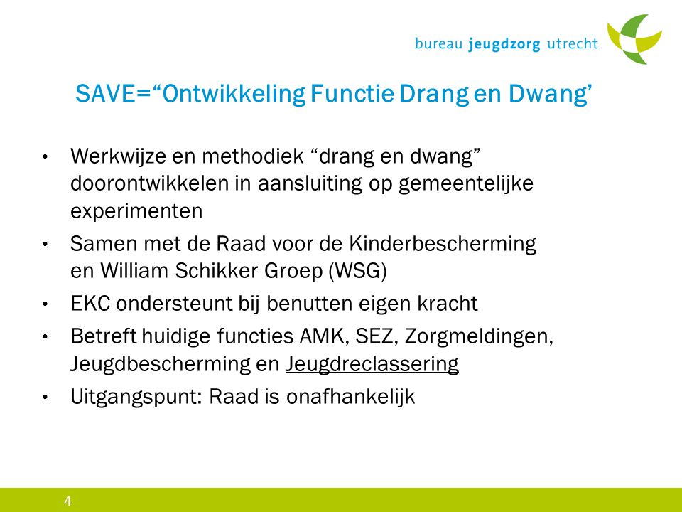 SAVE= Ontwikkeling Functie Drang en Dwang'