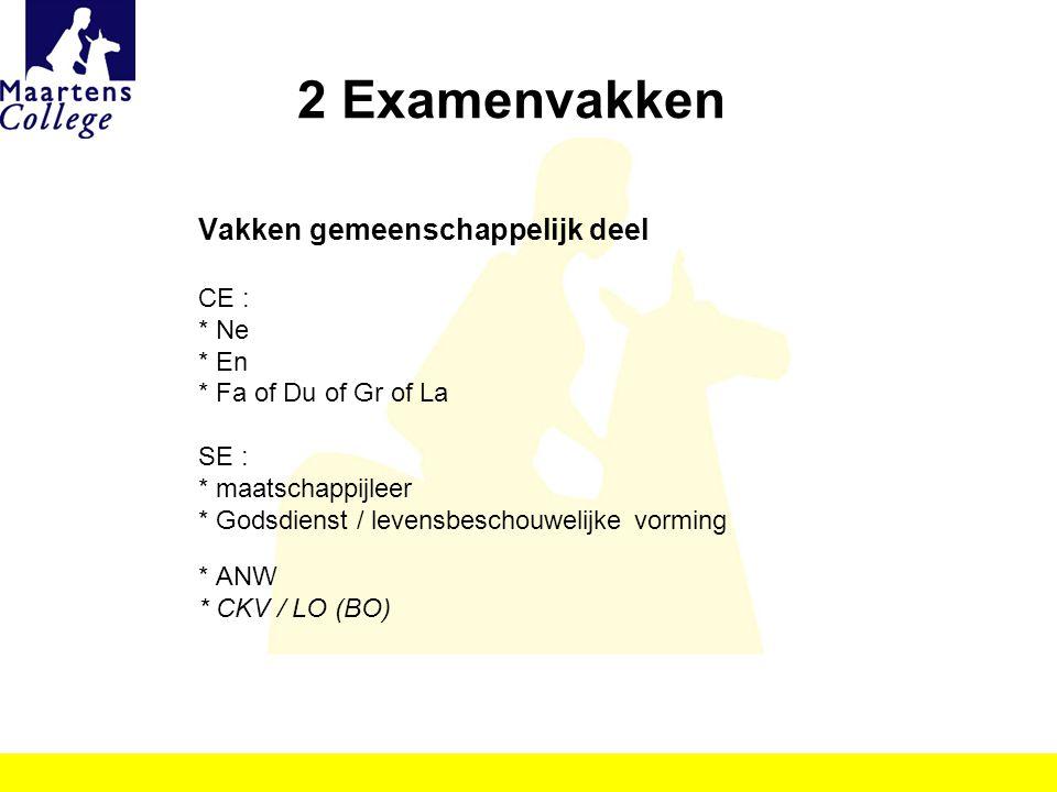 2 Examenvakken Vakken gemeenschappelijk deel CE : * Ne * En