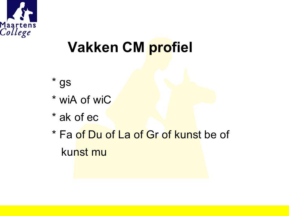 Vakken CM profiel * gs * wiA of wiC * ak of ec