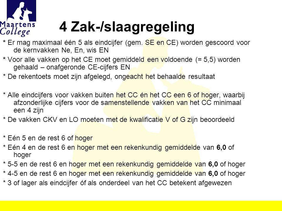 4 Zak-/slaagregeling * Er mag maximaal één 5 als eindcijfer (gem. SE en CE) worden gescoord voor de kernvakken Ne, En, wis EN.