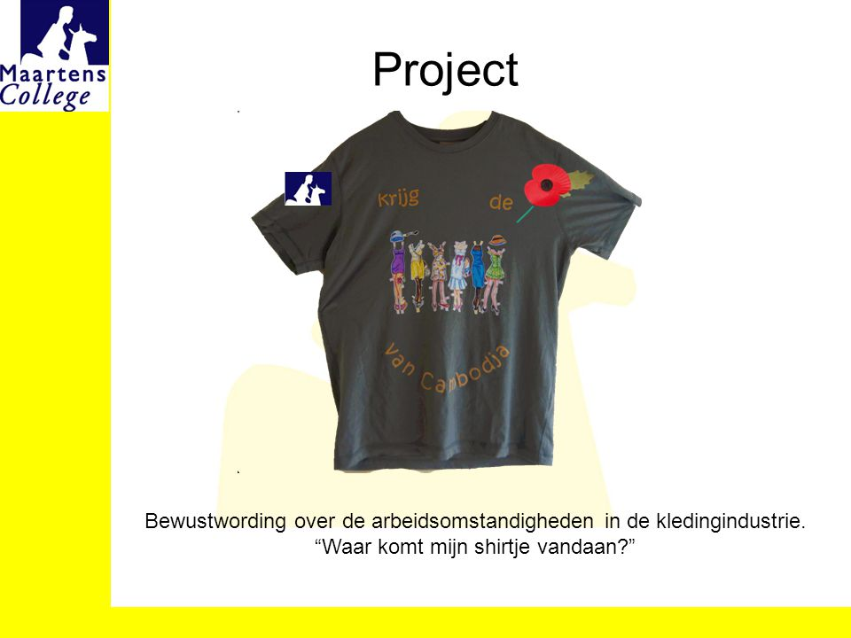 Project Bewustwording over de arbeidsomstandigheden in de kledingindustrie.